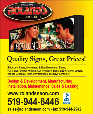 Roland's Neon Signs (519-944-6446) - Display Ad