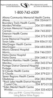 Regional Health Authority-Central Manitoba Inc (1-800-742-6509) - Display Ad
