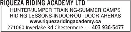 Riqueza Riding Academy Ltd (403-936-5477) - Annonce illustrée======= - OUTDOOR ARENAS - RIDING LESSONS - INDOOR ARENAS - SUMMER CAMPS - JUMPER TRAINING - HUNTER TRAINING