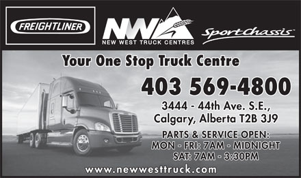 New West Freightliner Inc (403-569-4800) - Annonce illustrée