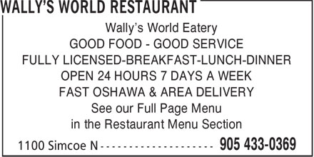 Wally's World Restaurant (289-274-2243) - Annonce illustrée