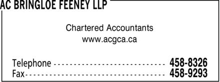 Bringloe Feeney LLP (506-458-8326) - Display Ad - Chartered Accountants www.acgca.ca