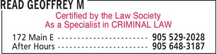 Read Geoffrey M (905-529-2028) - Annonce illustrée - Certified by the Law Society As a Specialist in CRIMINAL LAW
