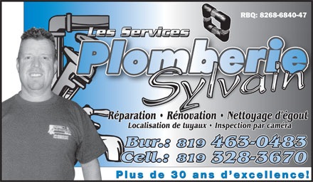 Les Services De Plomberie Sylvain (819-328-3670) - Display Ad