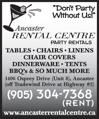 Ancaster Rental Centre (905-304-7368) - Display Ad