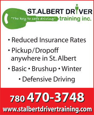 St Albert Driver Training Inc (780-470-3748) - Annonce illustrée