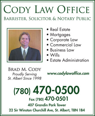 Cody Law Office (780-470-0500) - Display Ad