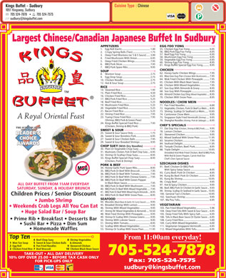 Kings Buffet-Sudbury (705-524-7878) - Menu