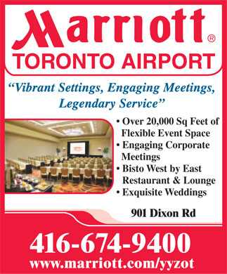 Marriott Hotel-Toronto Airport (416-674-9400) - Display Ad