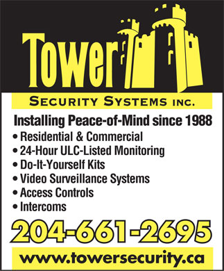 Tower Security Systems Inc (204-661-2695) - Annonce illustr&eacute;e