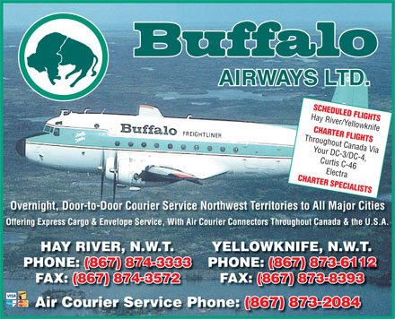 Buffalo Airways Ltd (867-874-3333) - Annonce illustrée