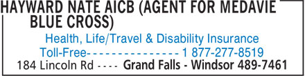 Hayward Nate AICB (Agent for Medavie Blue Cross) (709-489-7461) - Annonce illustrée - Health, Life/Travel & Disability Insurance