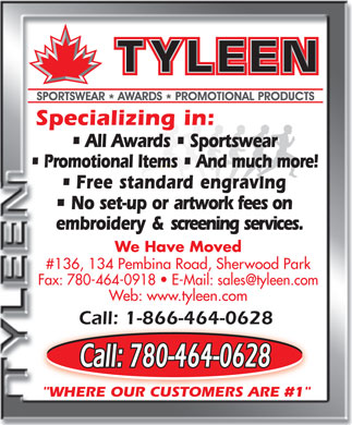 Tyleen Sportswear Awards & Promotional Products (780-464-0628) - Annonce illustrée
