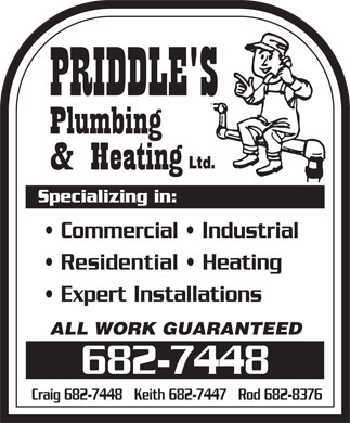 Priddle's Plumbing and Heating (709-682-7448) - Annonce illustrée