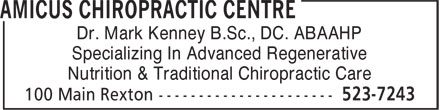 Amicus Chiropractic Centre (506-523-7243) - Annonce illustrée======= - Dr. Mark Kenney B.Sc., DC. ABAAHP - Specializing In Advanced Regenerative - Nutrition & Traditional Chiropractic Care