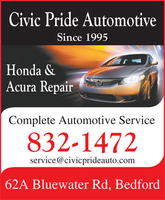 Civic Pride Automotive (902-832-1472) - Display Ad - Complete Automotive Service service@civicprideauto.com 62A Bluewater Rd, Bedford