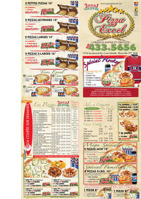 Pizza Excel (450-433-5656) - Menu