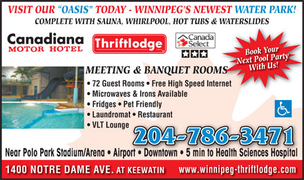 Canadiana Thriftlodge Motor Inn (204-786-3471) - Display Ad