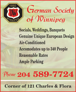 German Society of Winnipeg (204-589-7724) - Annonce illustrée