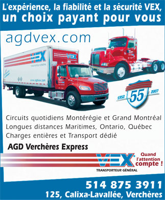 A G D Verch&egrave;res Express Inc (514-875-3911) - Annonce illustr&eacute;e