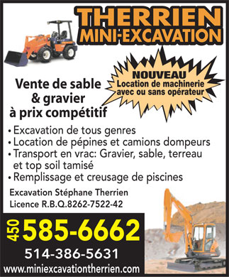 Excavation Déneigement Stéphane Therrien (438-792-1989) - Display Ad