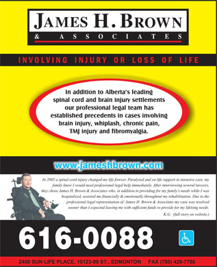 James H Brown & Associates (1-800-616-0088) - Display Ad