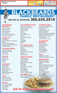 Black Beard's Family Restaurant (306-634-2514) - Menu