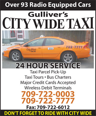 City Wide Taxi (709-722-0003) - Display Ad