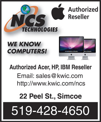 NCS Technologies (519-428-4650) - Annonce illustrée - Authorized Reseller TECHNOLOGIES WE KNOW COMPUTERS! Authorized Acer, HP, IBM Reseller Email: sales@kwic.com http://www.kwic.com/ncs 22 Peel St., Simcoe 519-428-4650