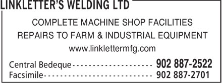 Linkletter's Welding Ltd (902-887-2522) - Annonce illustrée - COMPLETE MACHINE SHOP FACILITIES REPAIRS TO FARM & INDUSTRIAL EQUIPMENT www.linklettermfg.com COMPLETE MACHINE SHOP FACILITIES REPAIRS TO FARM & INDUSTRIAL EQUIPMENT www.linklettermfg.com