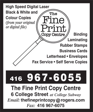 The Fine Print Copy Centre (416-967-6055) - Annonce illustrée