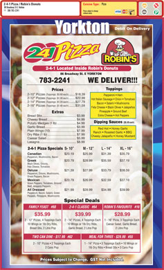 2-4-1 Pizza (306-783-2241) - Menu