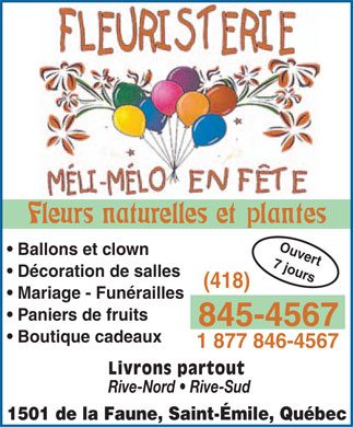 Fleuristerie M&eacute;li-M&eacute;lo En F&ecirc;te (418-845-4567) - Annonce illustr&eacute;e