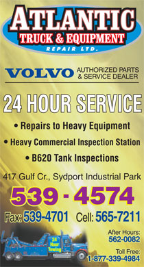 Atlantic Truck & Equipment Repair Ltd (902-539-4574) - Display Ad - 24 HOUR SERVICE Repairs to Heavy Equipment Heavy Commercial Inspection Station B620 Tank Inspections 417 Gulf Cr., Sydport Industrial Park - - - 4574 4574 4574 539 539 539