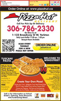 Pizza Hut (306-786-2330) - Menu