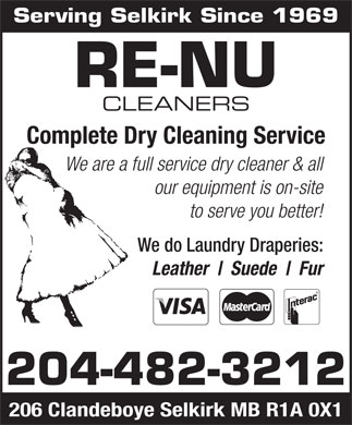 Re-Nu Cleaners (204-482-3212) - Display Ad
