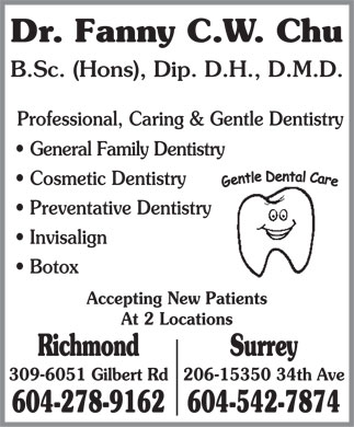 Chu Fanny C W Dr (604-278-9162) - Display Ad