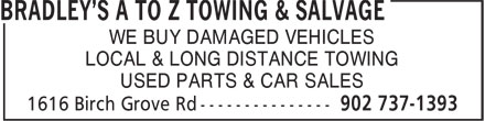 A To Z Towing & Salvage (902-737-1393) - Annonce illustrée - WE BUY DAMAGED VEHICLES LOCAL & LONG DISTANCE TOWING USED PARTS & CAR SALES