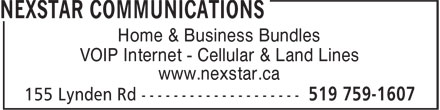 Nexstar Communications (519-759-1607) - Display Ad - Home & Business Bundles VOIP Internet - Cellular & Land Lines www.nexstar.ca