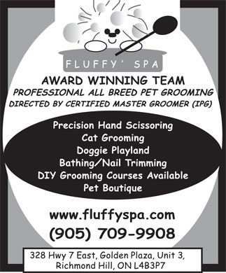 Fluffy' Spa (905-709-9908) - Display Ad