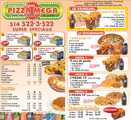 Pizza Mega (514-522-3522) - Menu