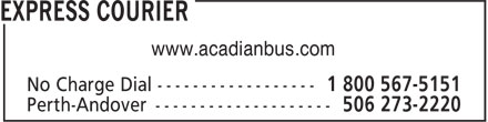 Express Courier (1-800-567-5151) - Display Ad - www.acadianbus.com