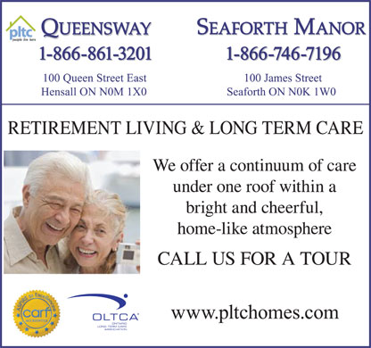 Queensway Retirement Home (519-262-2830) - Display Ad - 1-866-861-3201 1-866-746-7196 1-866-861-3201 1-866-746-7196 RETIREMENT LIVING & LONG TERM CARE We offer a continuum of care under one roof within a bright and cheerful, home-like atmosphere CALL US FOR A TOUR