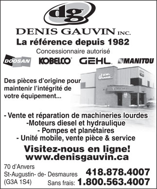 Gauvin Denis Inc (418-878-4007) - Display Ad