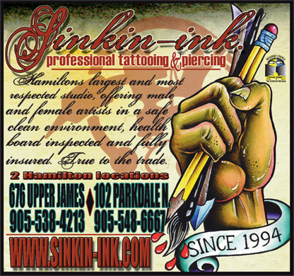 Sinkin' Ink Tattoos (905-777-9335) - Display Ad