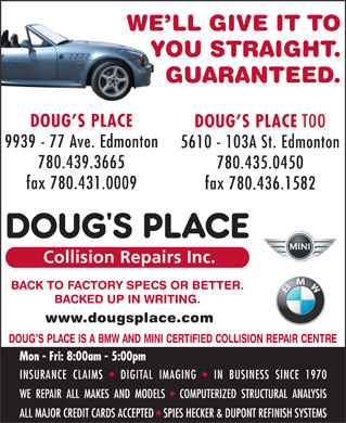 Doug's Place Collision Repairs Inc (780-412-1563) - Annonce illustrée