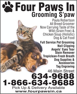 Four Paws In (709-634-9688) - Annonce illustrée - Four Paws In Grooming S paw Paula Robertson All Breed Groomer Now Carrying Taste of the Wild (Grain Free) & Chicken Soup (Holistic) Dog & Cat Food Full Service Pet Grooming Nail Clipping Angels  Eyes Tear Stain Remover Tropiclean-Fresh Breath Dog Supplies & Accessories Tag Engraving 46 Main Street 634-9688 1-866-634-9688 Pick Up & Delivery Available www.fourpawsin.ca