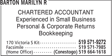 Barton Marilyn R (519-571-9272) - Display Ad - CHARTERED ACCOUNTANT Experienced in Small Business Personal &amp; Corporate Returns Bookkeeping