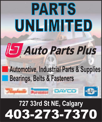 Parts Unlimited/Auto Parts Plus (403-273-7370) - Annonce illustrée