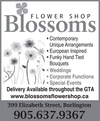 Blossoms Of Burlington (905-637-9367) - Annonce illustrée - Contemporary Unique Arrangements European Inspired Funky Hand Tied Bouquets Weddings Corporate Functions Special Events Delivery Available throughout the GTA www.blossomsflowershop.ca Contemporary Unique Arrangements European Inspired Funky Hand Tied Bouquets Weddings Corporate Functions Special Events Delivery Available throughout the GTA www.blossomsflowershop.ca